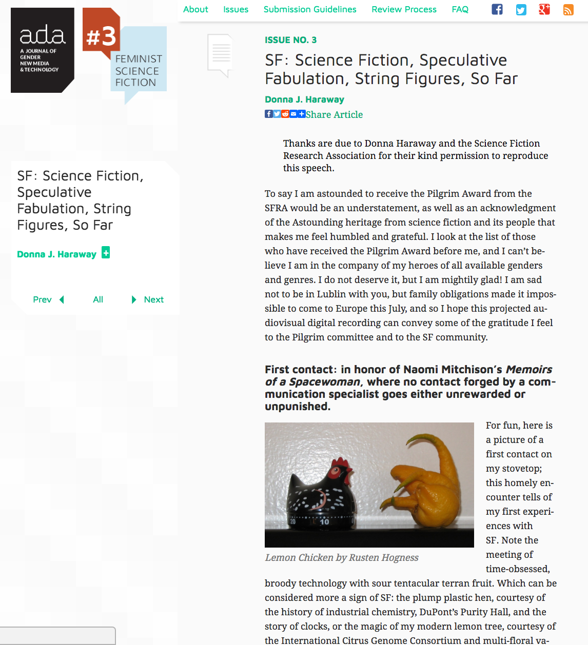 image of donna haraways article in ADA journal